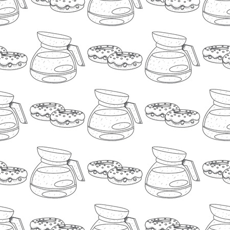 Seamless pattern with outline drawings on the theme of coffee. Teapot and donuts.