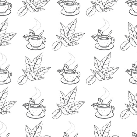 Seamless pattern with outline drawings on the theme of coffee. Coffee beans and coffee in the cup.