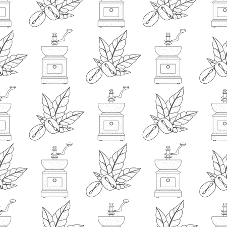 Seamless pattern with outline drawings on the theme of coffee. Vintage coffee grinder and coffee beans.