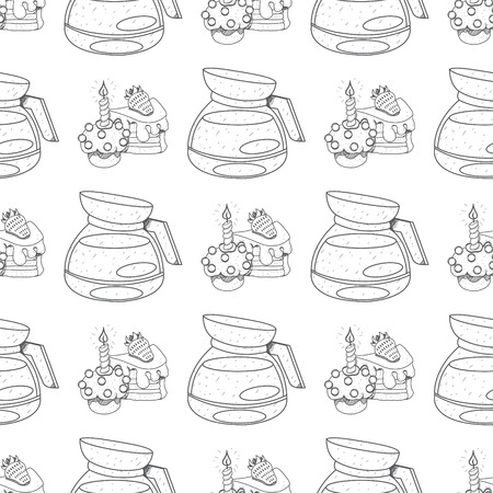 Seamless pattern with outline drawings on the theme of coffee. Cakes and kettle for brewing coffee.