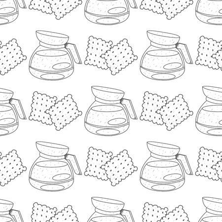 Seamless pattern with outline drawings on the theme of coffee. A kettle for brewing coffee and crackers.