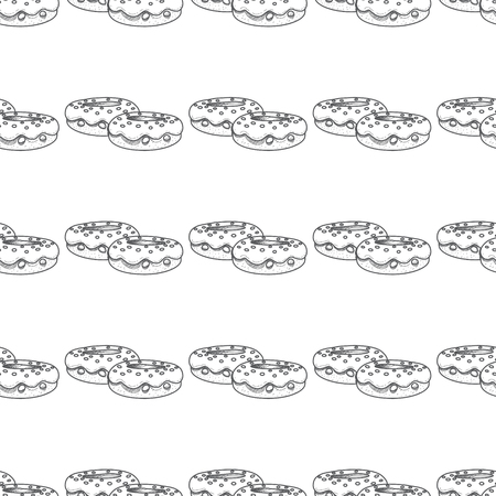 Seamless pattern with donuts outline drawings. Illustration