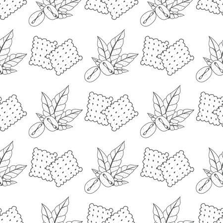 Seamless pattern with outline drawings on the theme of coffee. Coffee beans and crackers.