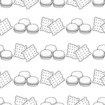 Seamless pattern with outline drawings on the theme of coffee. Macaroon and crackers.