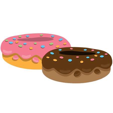 Two donuts with chocolate fudge and strawberry. Color illustration of desserts and pastries. Illustration