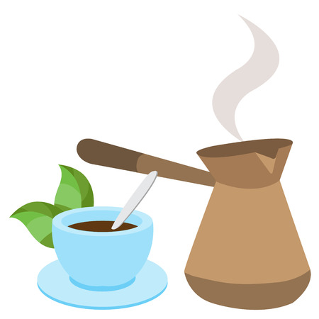 Turkish fresh hot coffee and a cup. Color illustration of drinks.