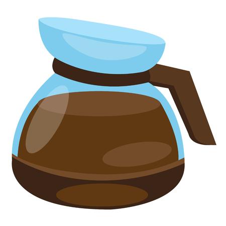 Teapot brewing coffee in the coffee machine.