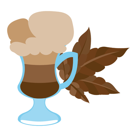 Iced coffee in the cup color illustration.