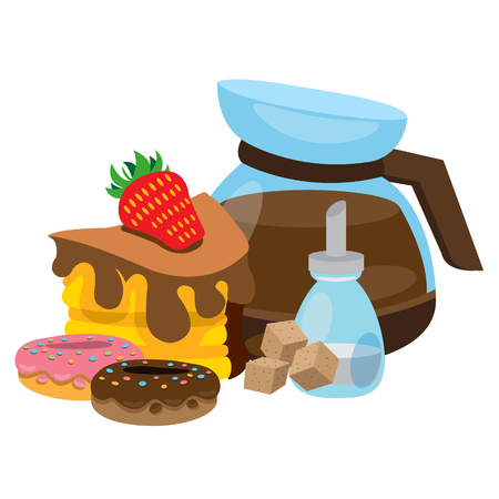 Pastries and coffee. The color illustration with the image of donuts, cake, sugar and coffee. Illustration
