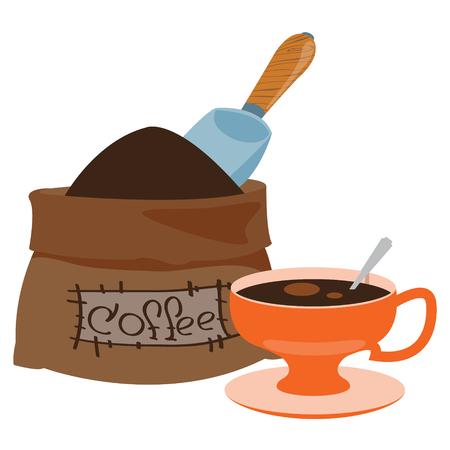 Sack with coffee and a big orange mug with a drink.