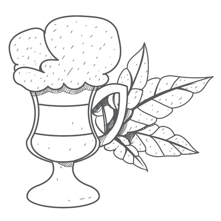 Iced coffee in the cup outline drawing.