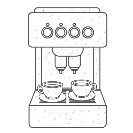Coffee machine red. Household appliances outline drawing. Illustration