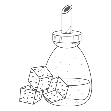 Cane sugar cubes and white sugar in the sugar bowl outline drawing.