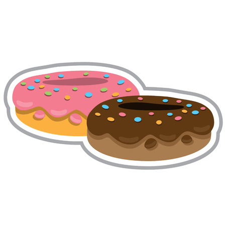 Two donuts with chocolate fudge and strawberry. Color illustration of desserts and pastries. Çizim