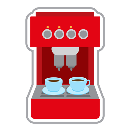 Coffee machine red. Appliances color illustration.