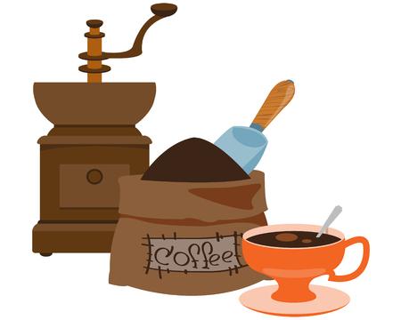 Vintage manual coffee grinder, coffee bag and cup color illustration.