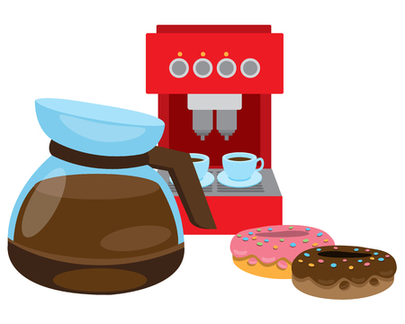 Teapot brewing coffee. Coffee machine and donuts. Ilustrace