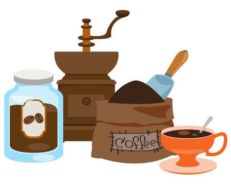 Vintage manuelle Kaffeemühle, Glas für Kaffeespeicher, Kaffeebeutel und Tasse Farbillustration.