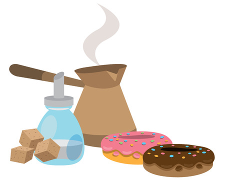 Turkish fresh hot coffee, sugar and donuts color illustration.