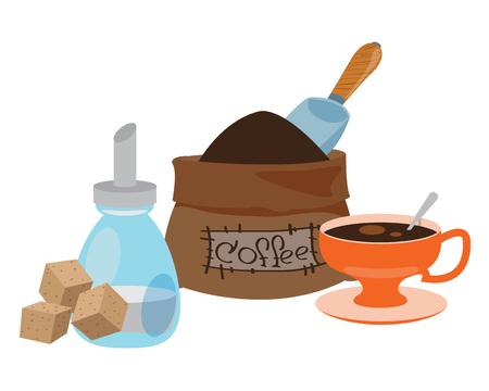 Sack of coffee beans, sugar and cup color illustration. Illusztráció