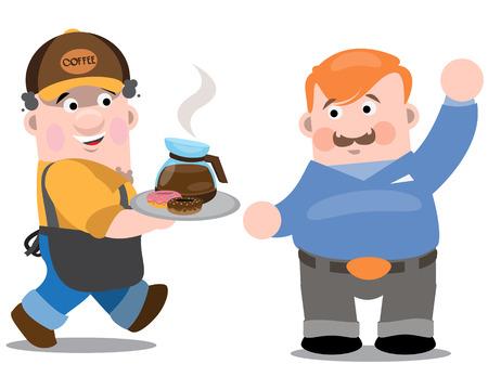 Cafetería, el camarero y el cliente. Dos hombres en un café. El camarero pone orden al cliente. Ilustración de vector