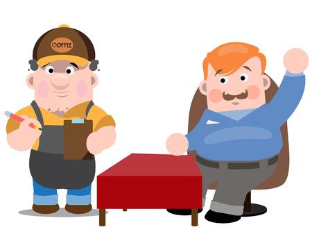 Cafetería, el camarero y el cliente. Dos hombres en un café. El camarero pone orden al cliente.
