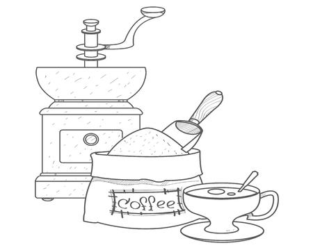 Vintage manuelle Kaffeemühle, Kaffeebeutel und Tasse Umrisszeichnung