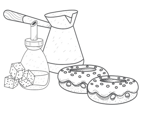 Turkish fresh hot coffee, sugar and donuts outline drawing