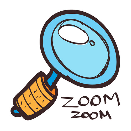 Magnifying glass icon colored with a black outline on a white background in a hand drawn style. Vettoriali