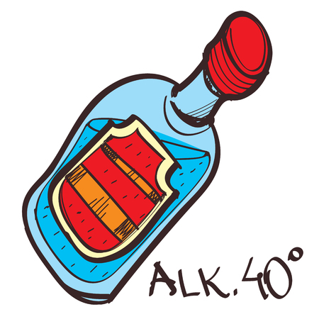 Bottle with alcohol drink colored button with a black outline on a white background.