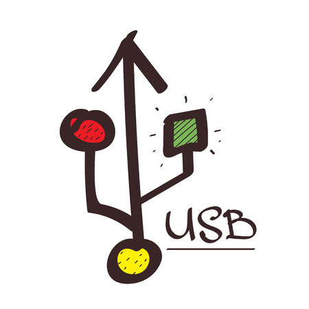 Symbol Universal Serial Bus color illustration on white background