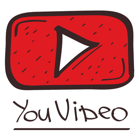 Play button color illustration in hand drawing style.