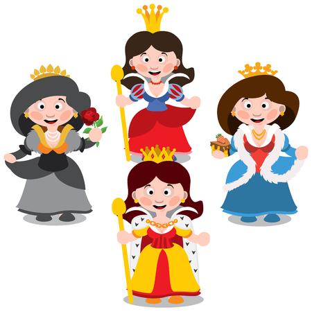 Four queen. Cartoon characters vector.