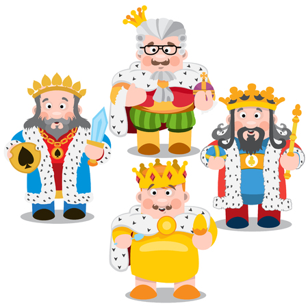 Four kings. Cartoon characters vector.