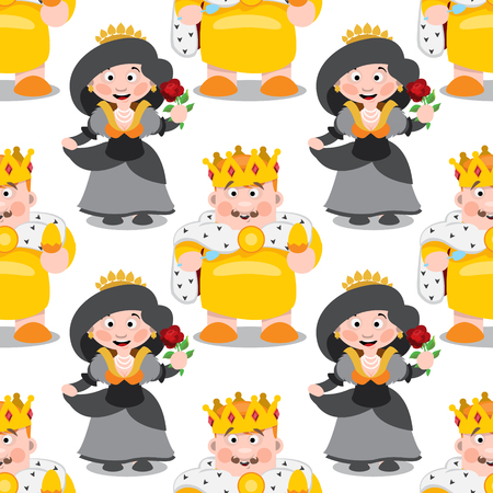 Seamless pattern with cartoon king and queen. Vettoriali