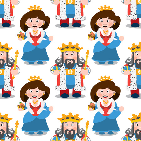 Seamless pattern with cartoon king and queen. Illustration