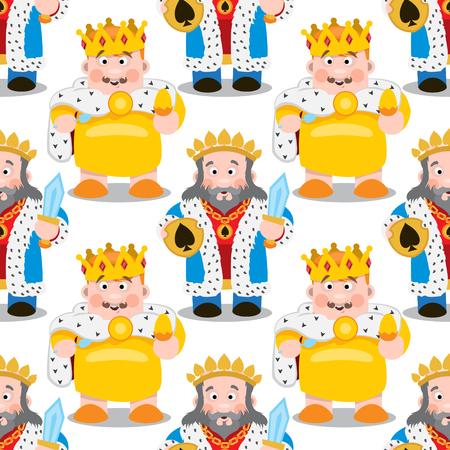 Seamless pattern with cartoon kings.