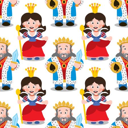 Modèle sans couture avec roi et reine de dessin animé.
