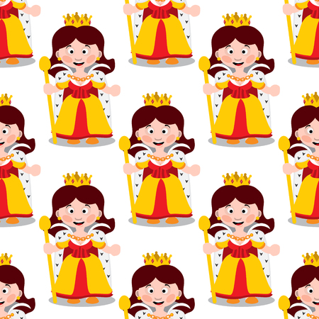 Seamless pattern with cartoon queens on white background. Illustration