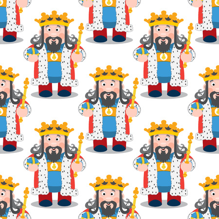 Seamless pattern with cartoon kings on white background. Illustration