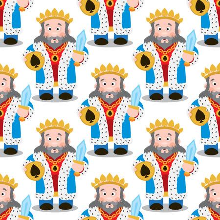 Modello senza cuciture con re dei cartoni animati su sfondo bianco. Vettoriali