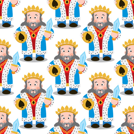 Seamless pattern with cartoon kings on white background.