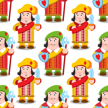 Seamless pattern with cartoon prince on white background. Illustration