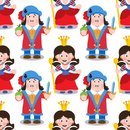 Seamless pattern with cartoon queen and prince.