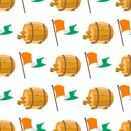 Seamless pattern with an Irish flag and a wooden beer barrel. Standard-Bild - 111938179