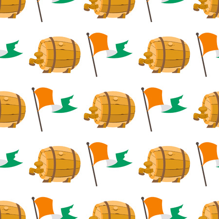 Seamless pattern with an Irish flag and a wooden beer barrel.