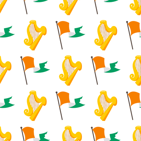 Seamless pattern with a Green snake in an Irish flag and the golden harp.