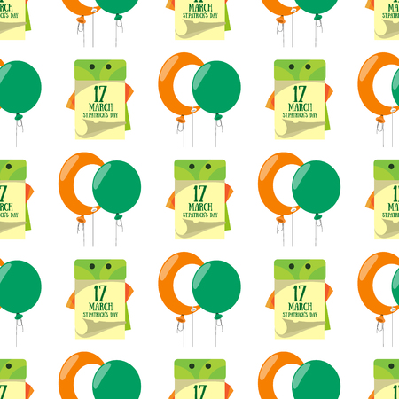 Seamless pattern with a balloons and a calendar on 17 March.