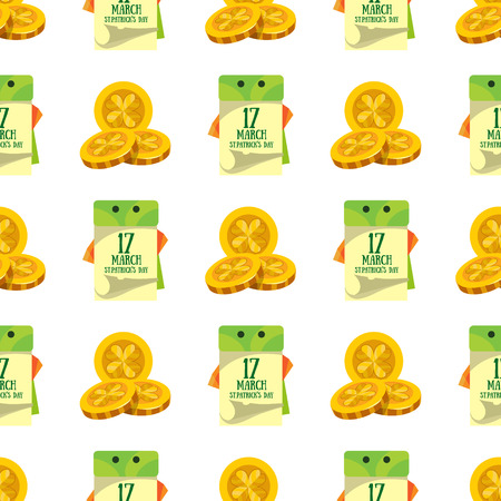 Seamless pattern with a calendar on 17 March and three gold coins.