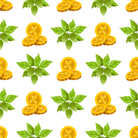 Seamless pattern with a sprig of hops and three gold coins.